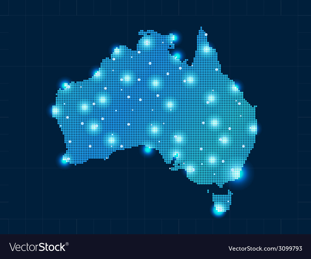 Pixel australia map with spot lights vector | Price: 1 Credit (USD $1)