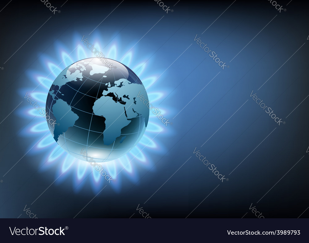 Planet earth in the blue flame of a gas burner vector | Price: 1 Credit (USD $1)