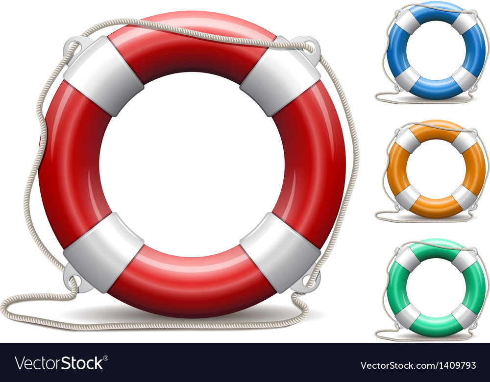 Set of life buoys on white background vector | Price: 1 Credit (USD $1)