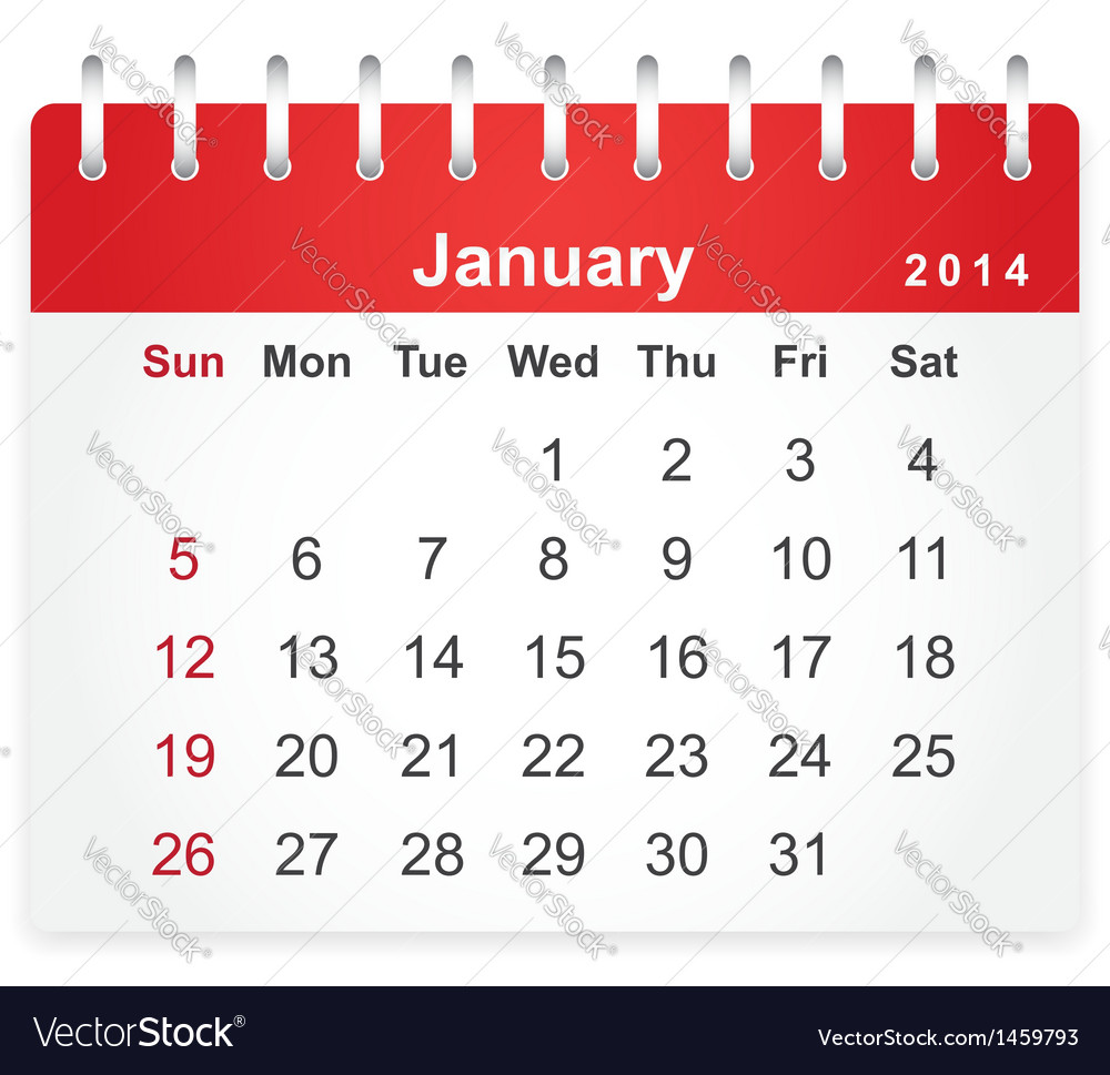 Stylish calendar page for january 2014 vector | Price: 1 Credit (USD $1)
