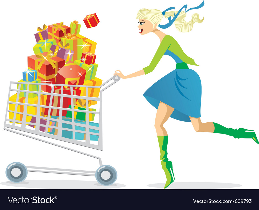 Young girl on a shopping spree vector | Price: 3 Credit (USD $3)