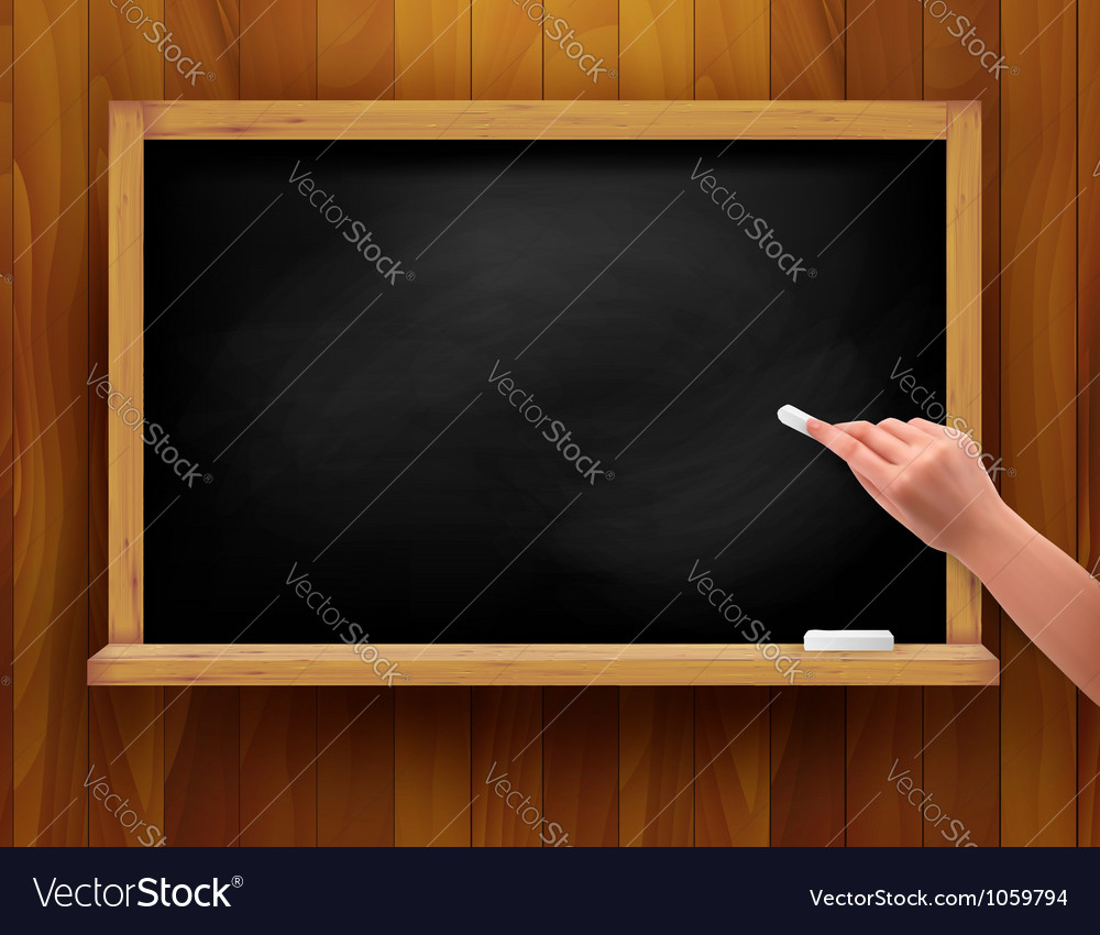 Blackboard with hand on wooden background vector | Price: 1 Credit (USD $1)