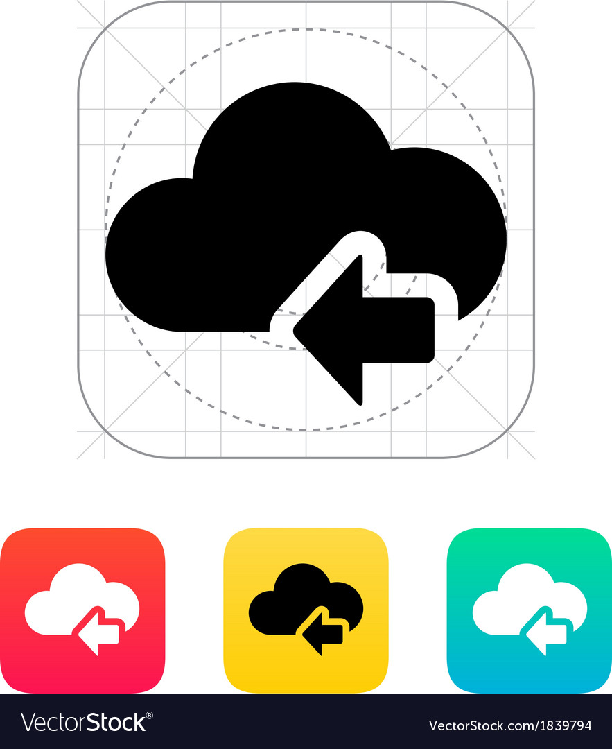 Cloud computing with previous arrow icon vector | Price: 1 Credit (USD $1)