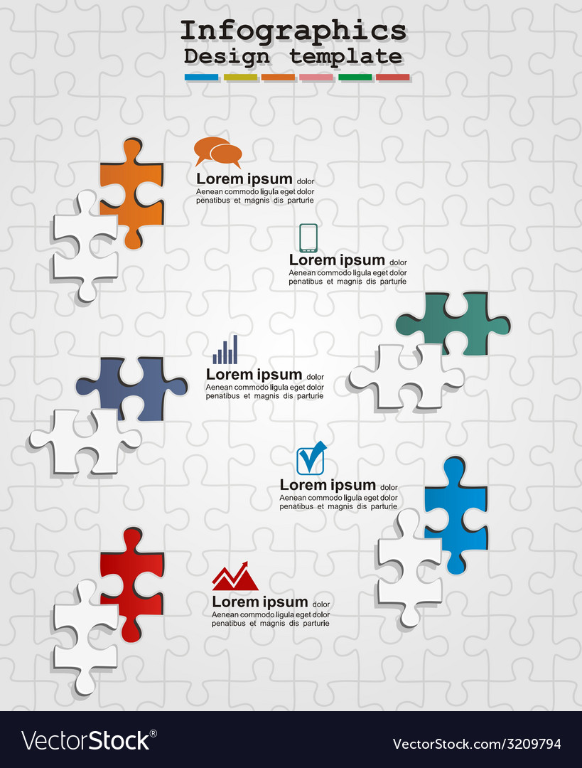 Infographics web design with puzzle vector | Price: 1 Credit (USD $1)