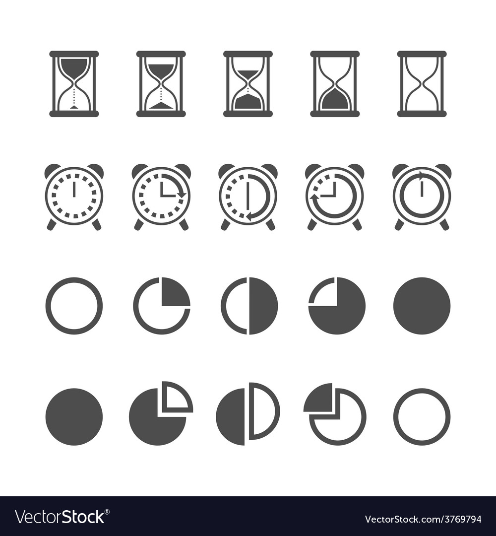 Isolated hourglasses and clocks icons set vector | Price: 1 Credit (USD $1)