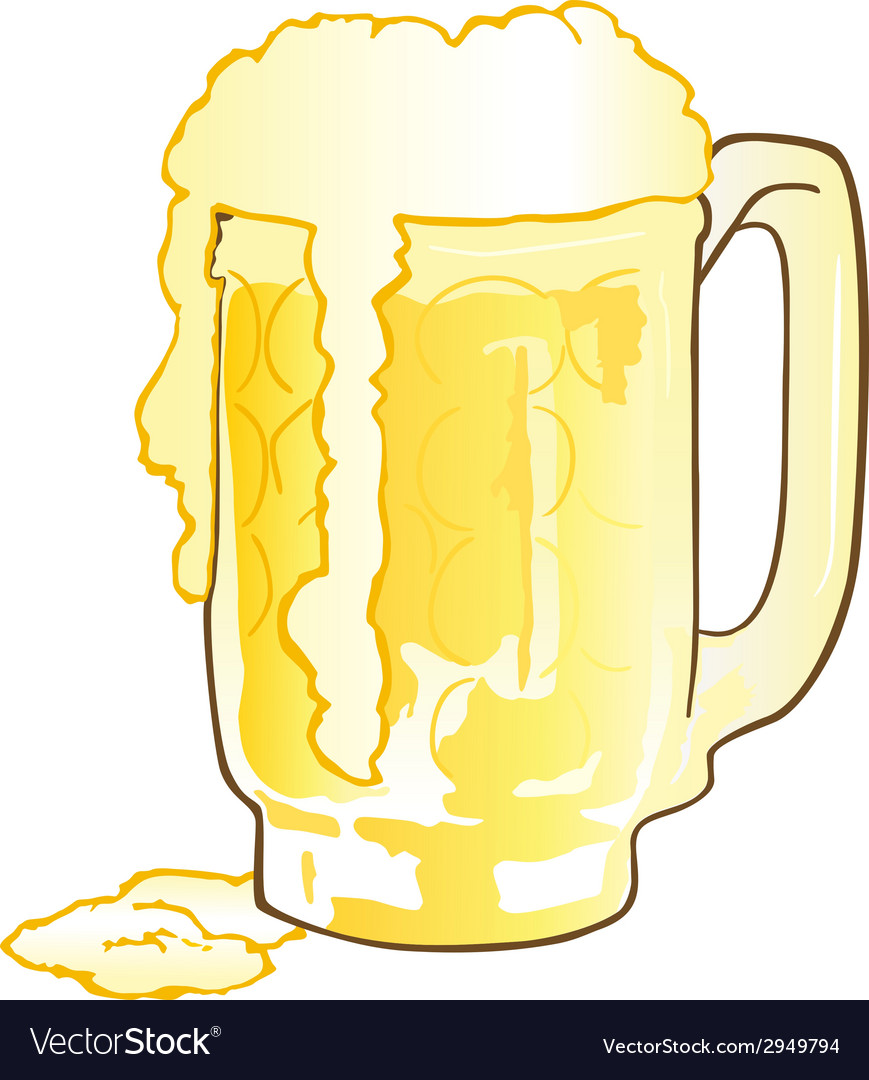 Mug of beer with overflowing foam vector | Price: 1 Credit (USD $1)