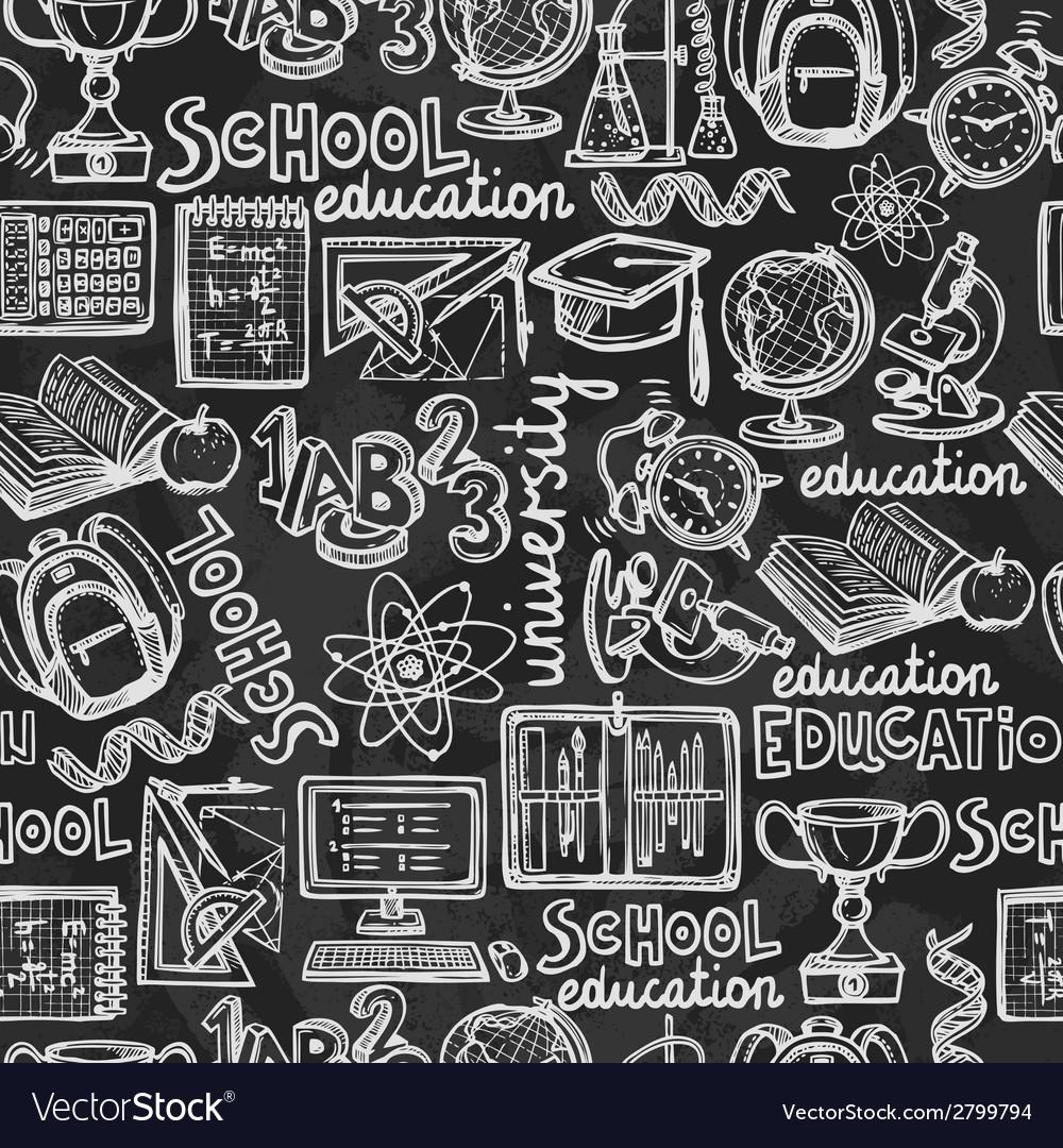 School education chalkboard seamless pattern vector