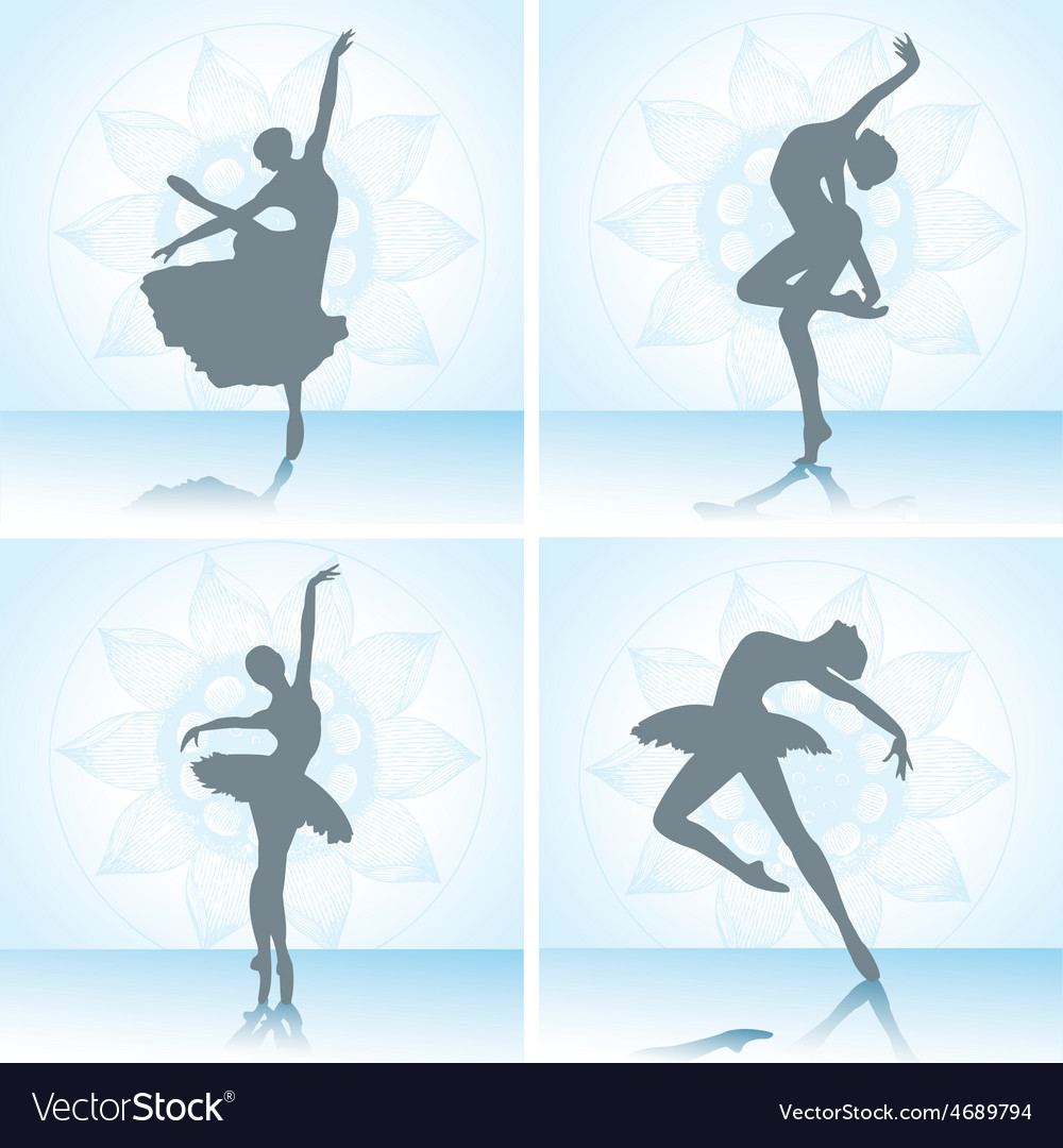 Set of ballet dancers silhouettes vector | Price: 1 Credit (USD $1)