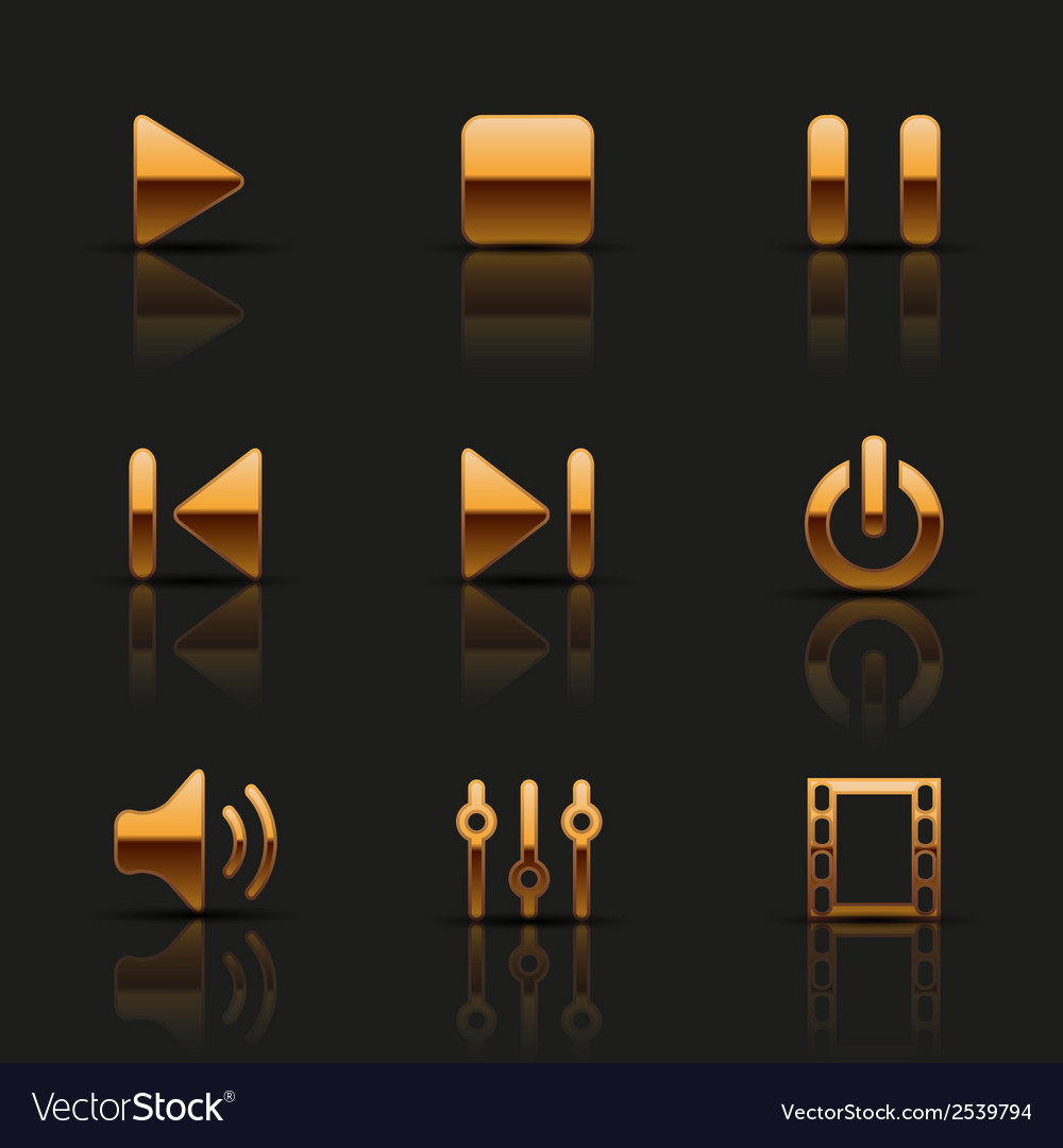 Set of golden media icons vector | Price: 1 Credit (USD $1)