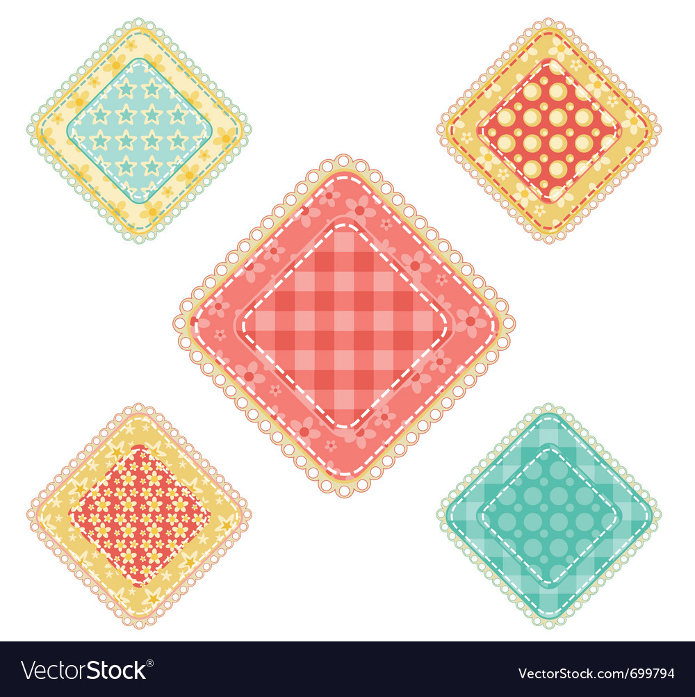 Set of patchwork rhombuses vector | Price: 1 Credit (USD $1)