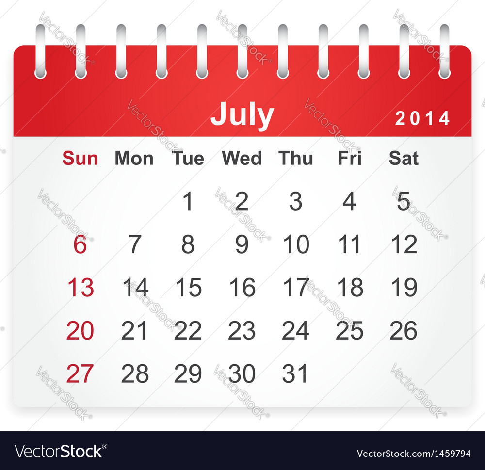 Stylish calendar page for july 2014 vector | Price: 1 Credit (USD $1)