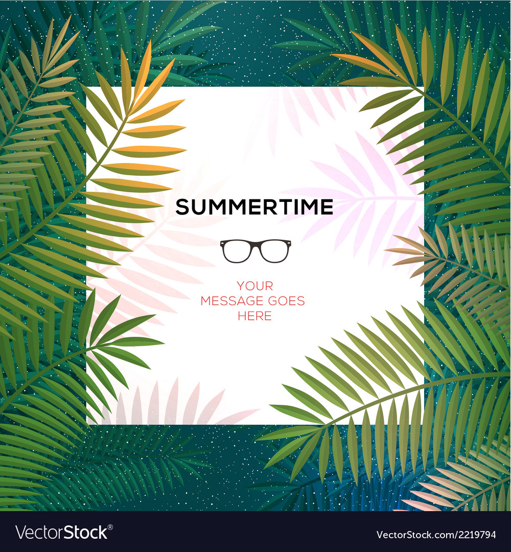 Summer tropical template with palm leaves vector | Price: 1 Credit (USD $1)