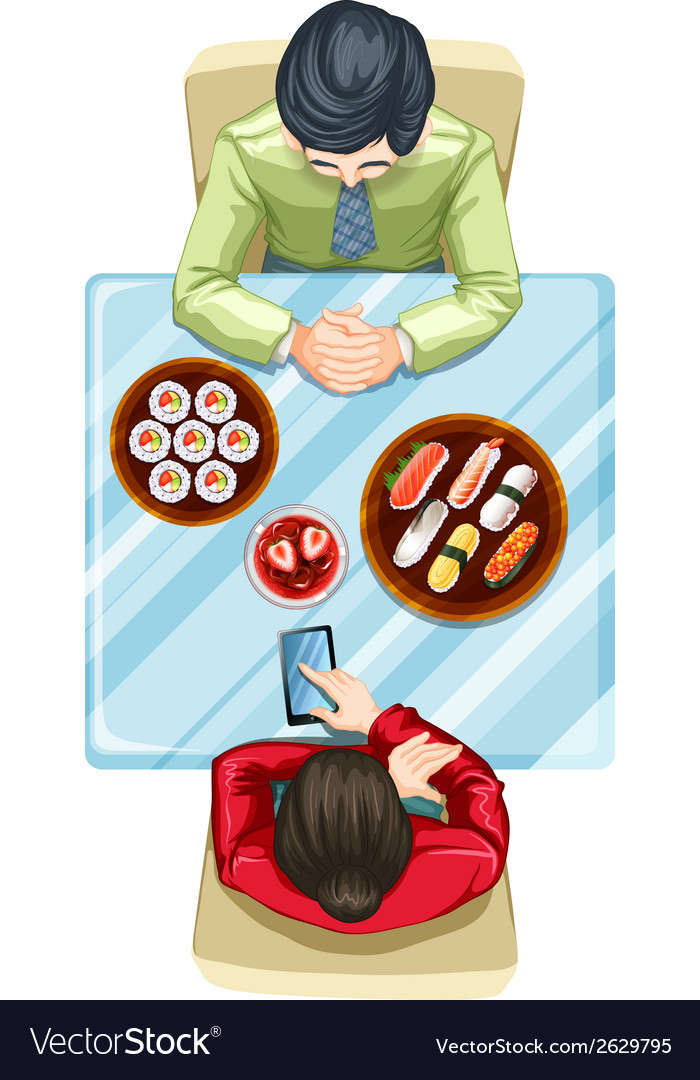 A topview of two people eating sushi vector | Price: 1 Credit (USD $1)