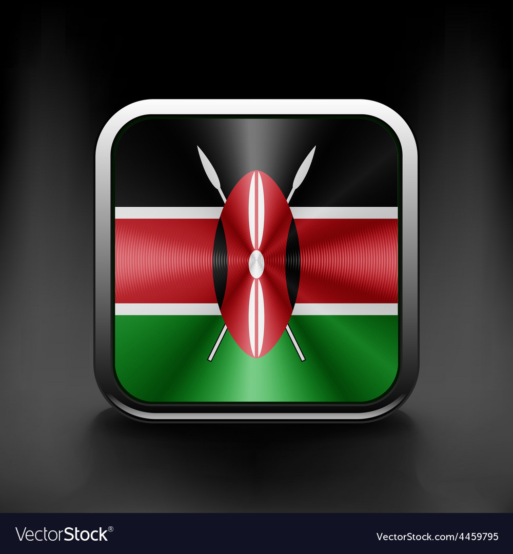 Kenya flag square glossy button national white vector | Price: 1 Credit (USD $1)