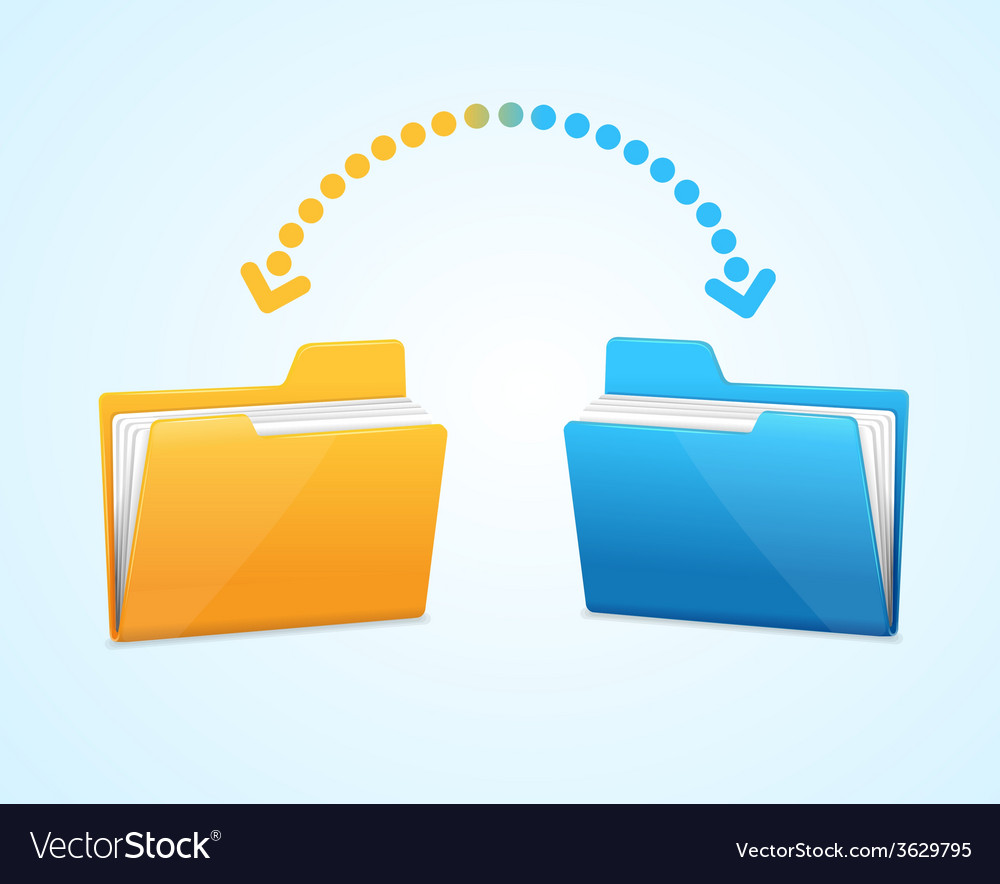 Moving documents between two folders vector | Price: 1 Credit (USD $1)