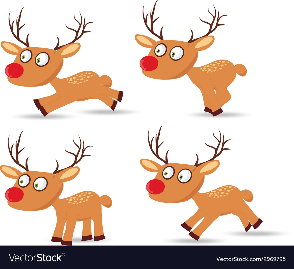 Set of christmas with deers for design vector | Price: 1 Credit (USD $1)
