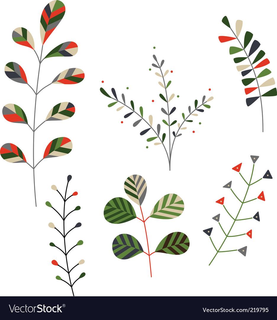 Set of decorative plants vector | Price: 1 Credit (USD $1)