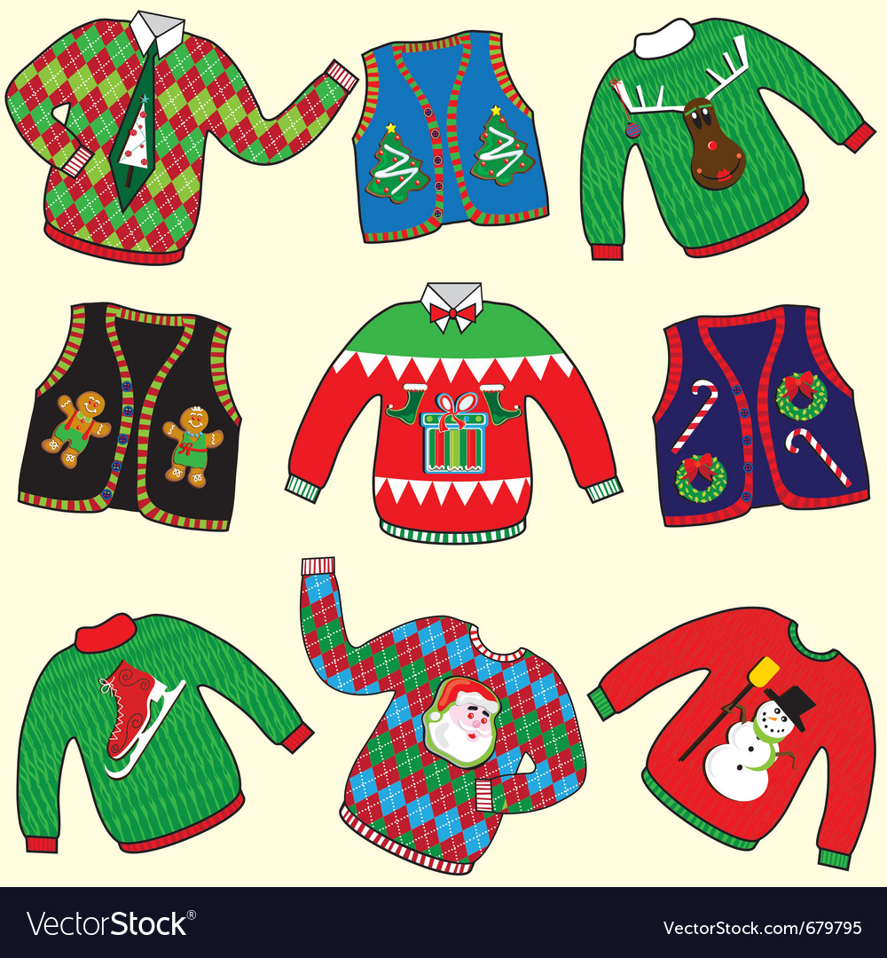 Ugly christmas sweaters vector | Price: 3 Credit (USD $3)