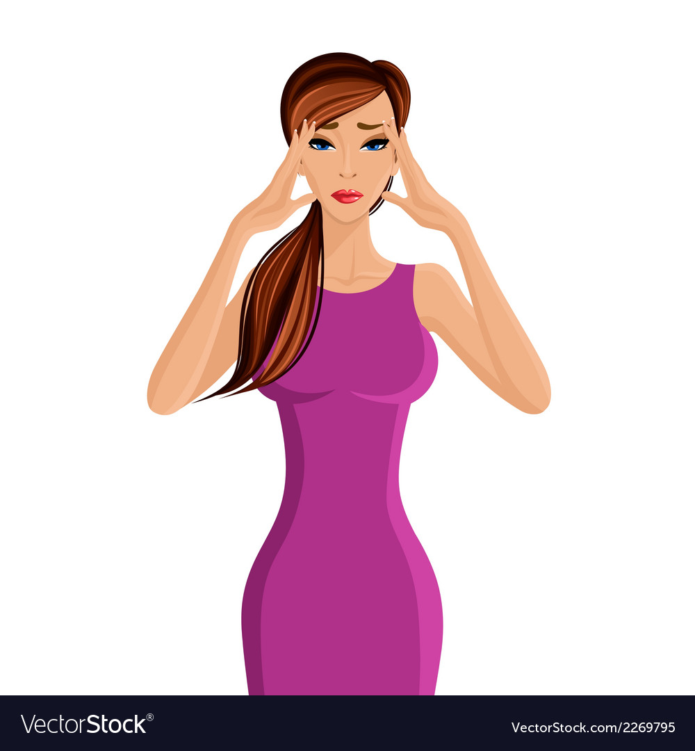 Woman migraine headache vector | Price: 1 Credit (USD $1)