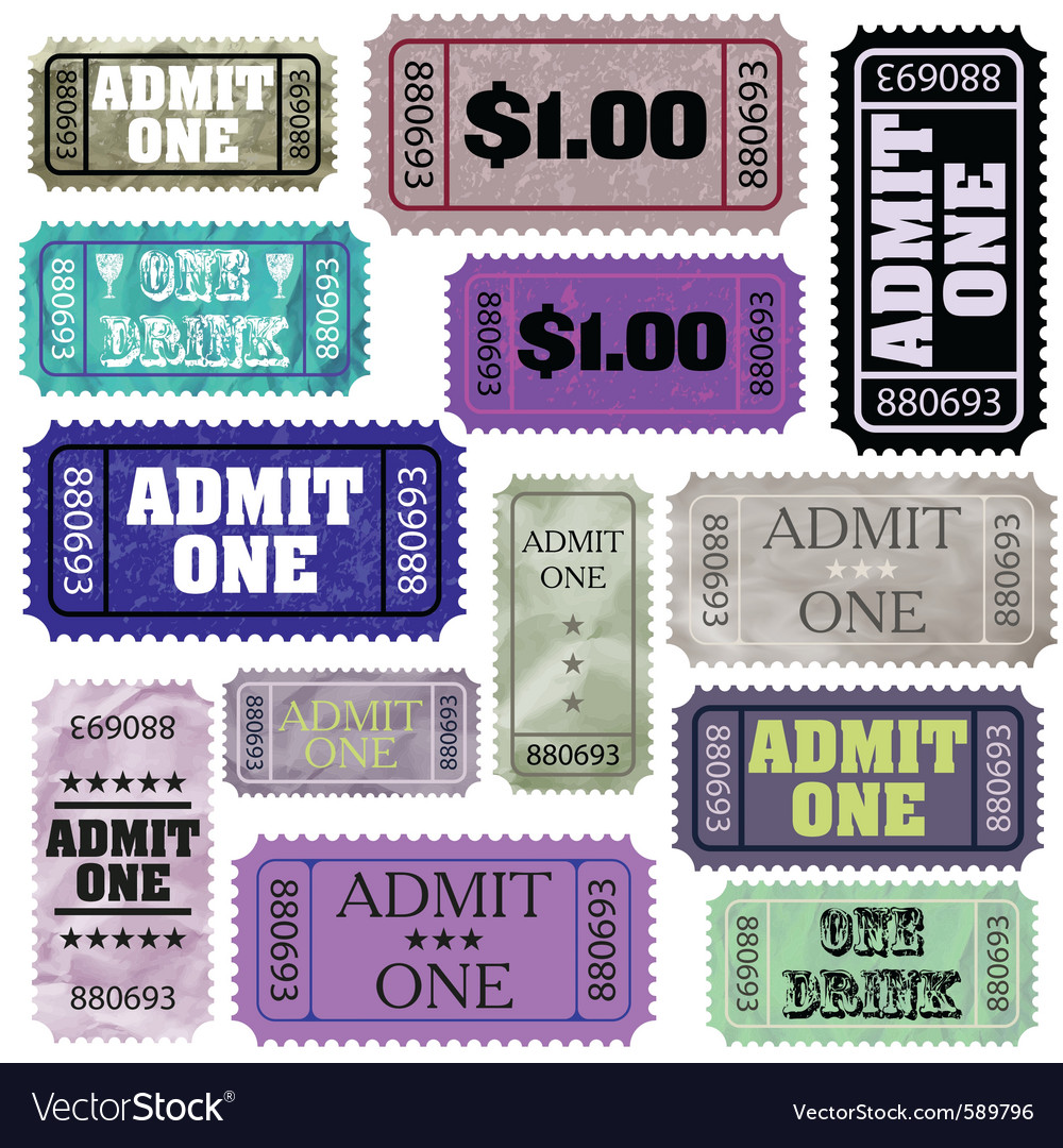 Admission tickets set vector | Price: 1 Credit (USD $1)