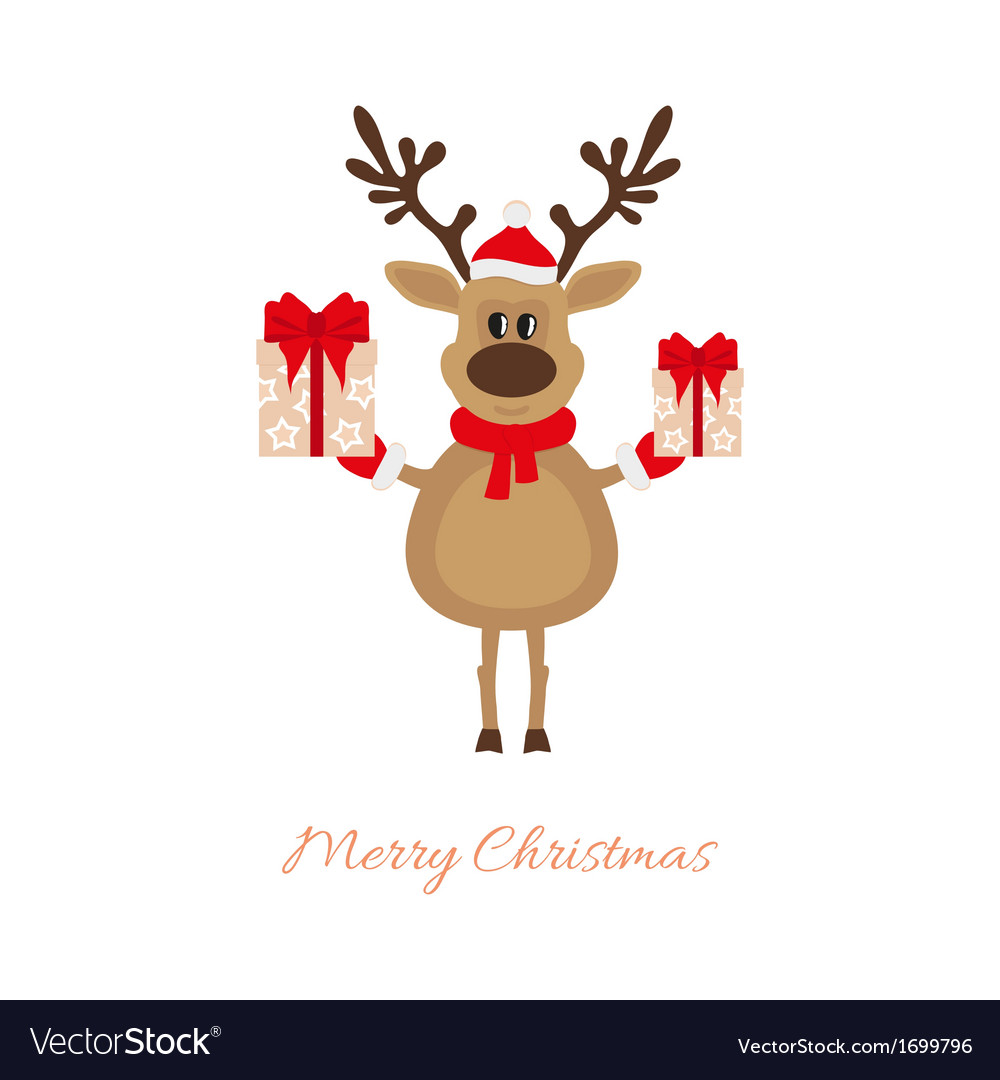 Christmas reindeer with gifts vector | Price: 1 Credit (USD $1)