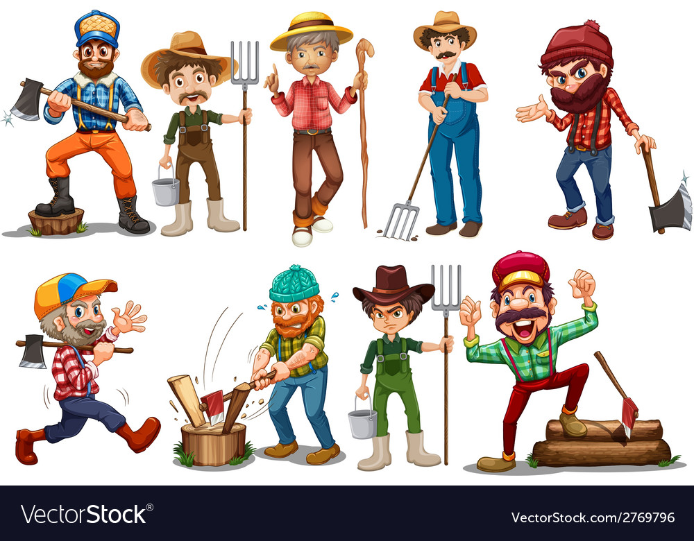 Farmers and lumberjacks vector | Price: 3 Credit (USD $3)