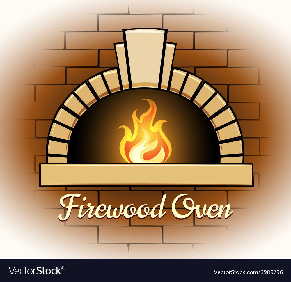 Firewood oven logo or badge vector | Price: 1 Credit (USD $1)