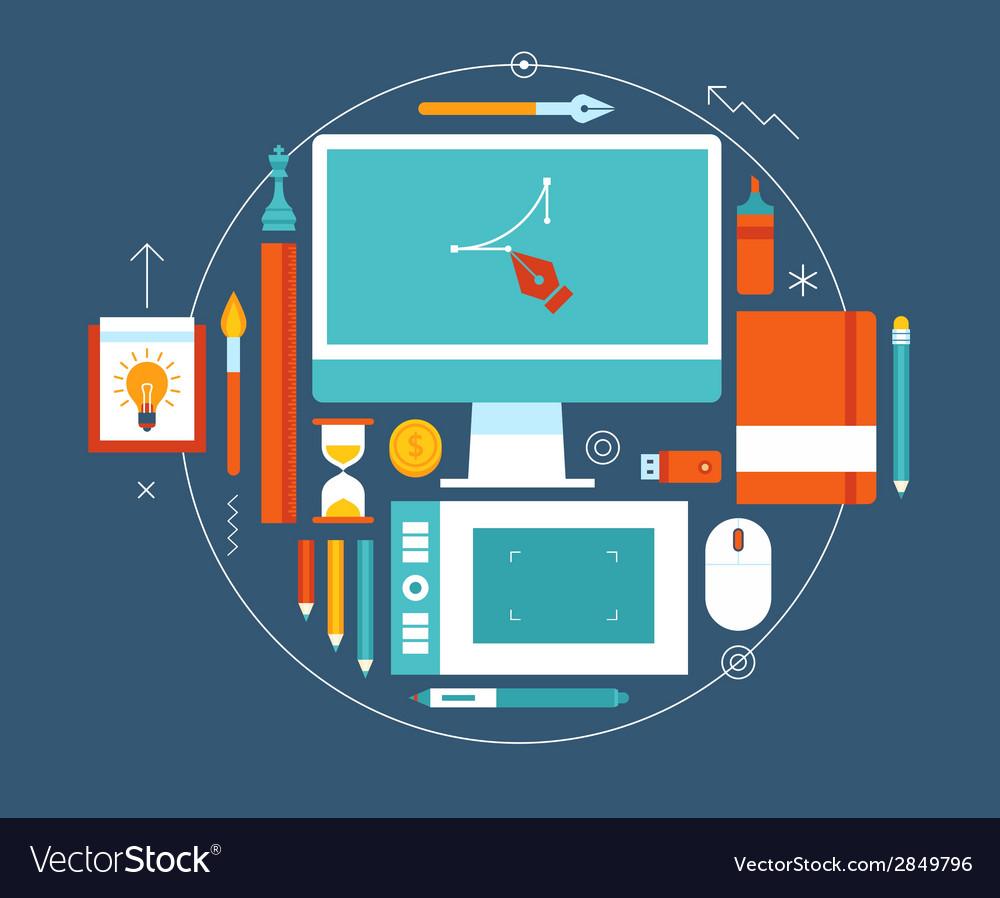 Flat design of modern creative designer workspace vector   Price: 1 Credit (USD $1)