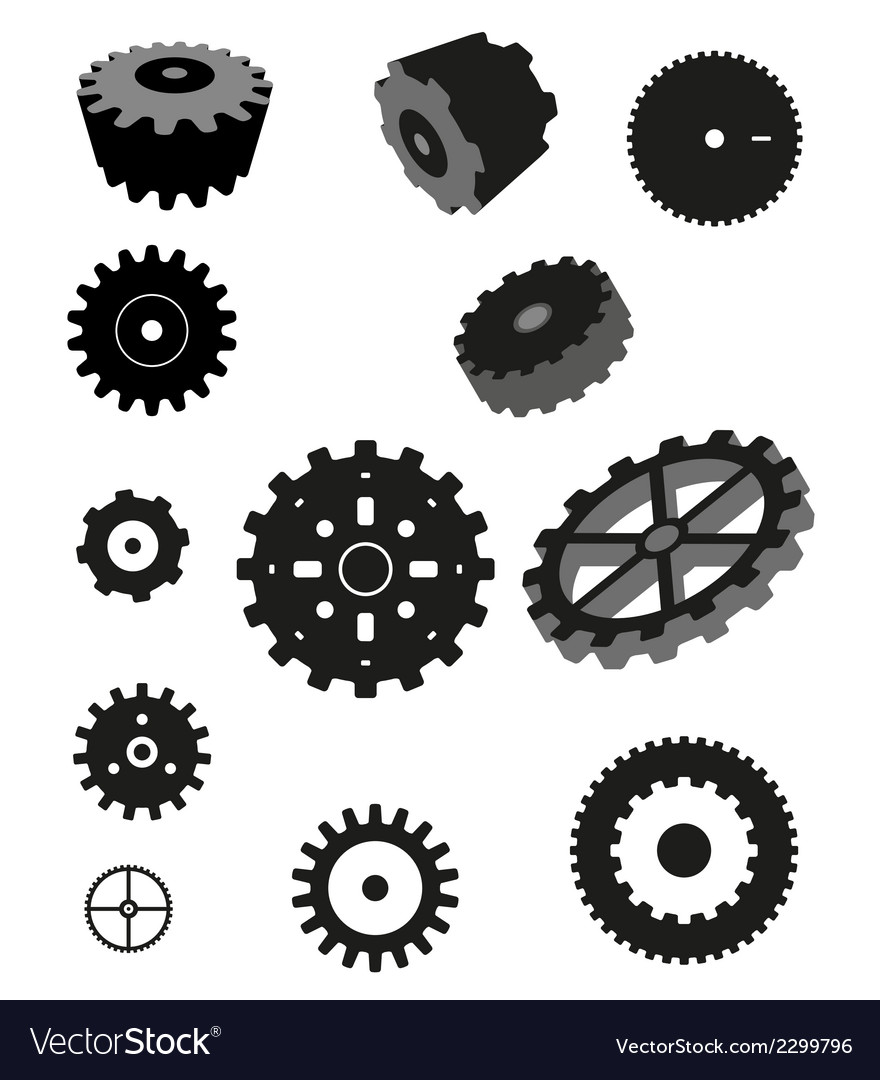 Gear collection machine cogwheel vector | Price: 1 Credit (USD $1)