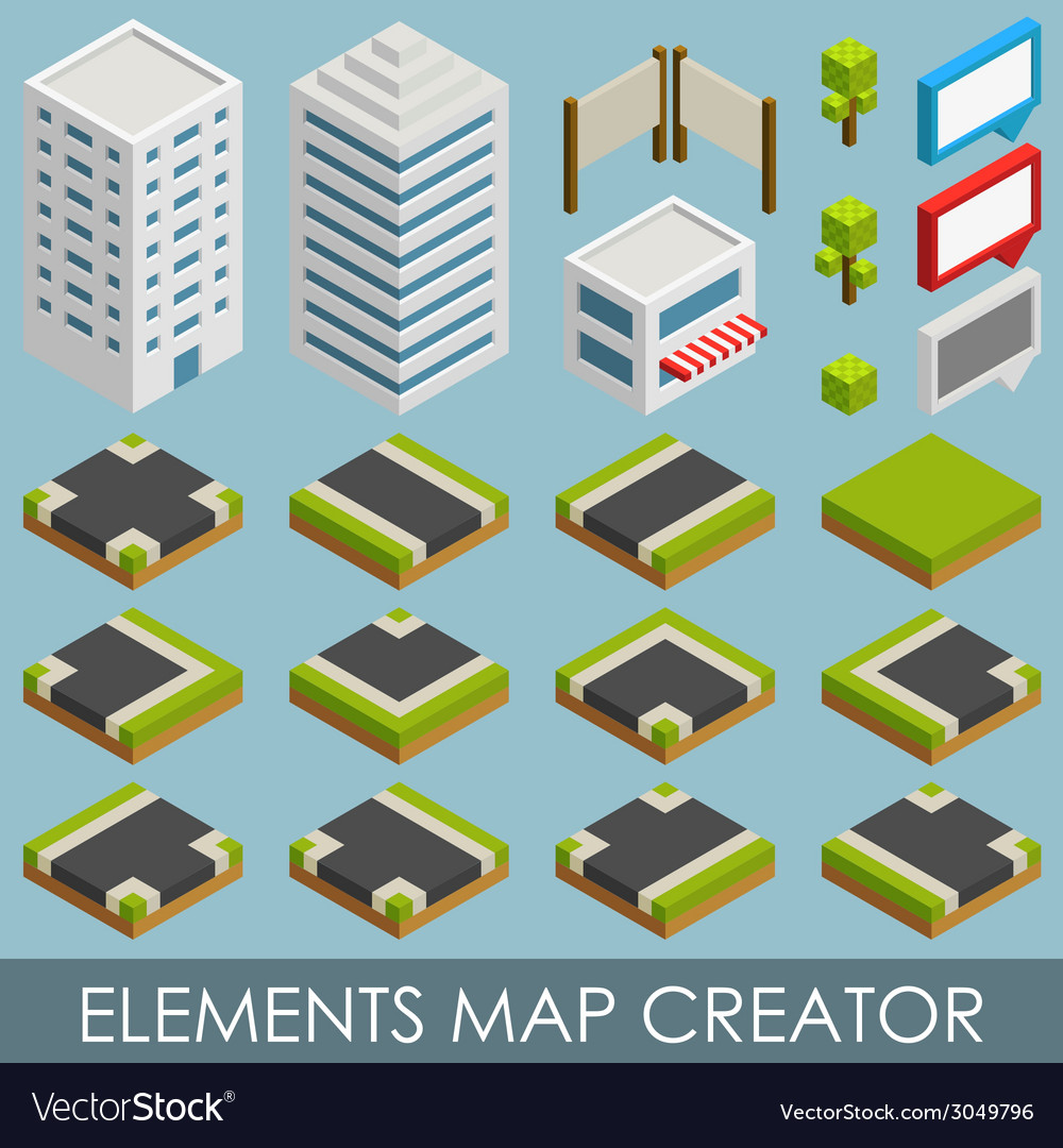 Isometric elements map creator vector | Price: 1 Credit (USD $1)