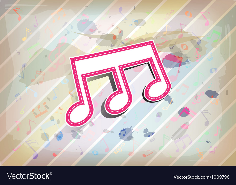 Melody note label with pastel background vector | Price: 1 Credit (USD $1)