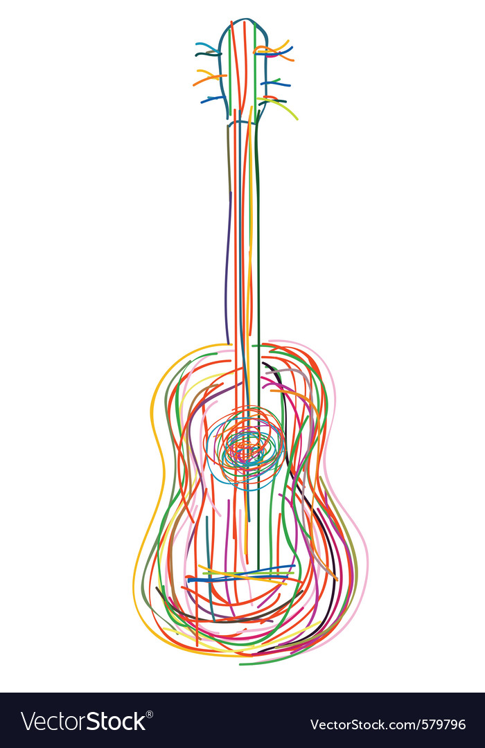Neon guitar vector | Price: 1 Credit (USD $1)