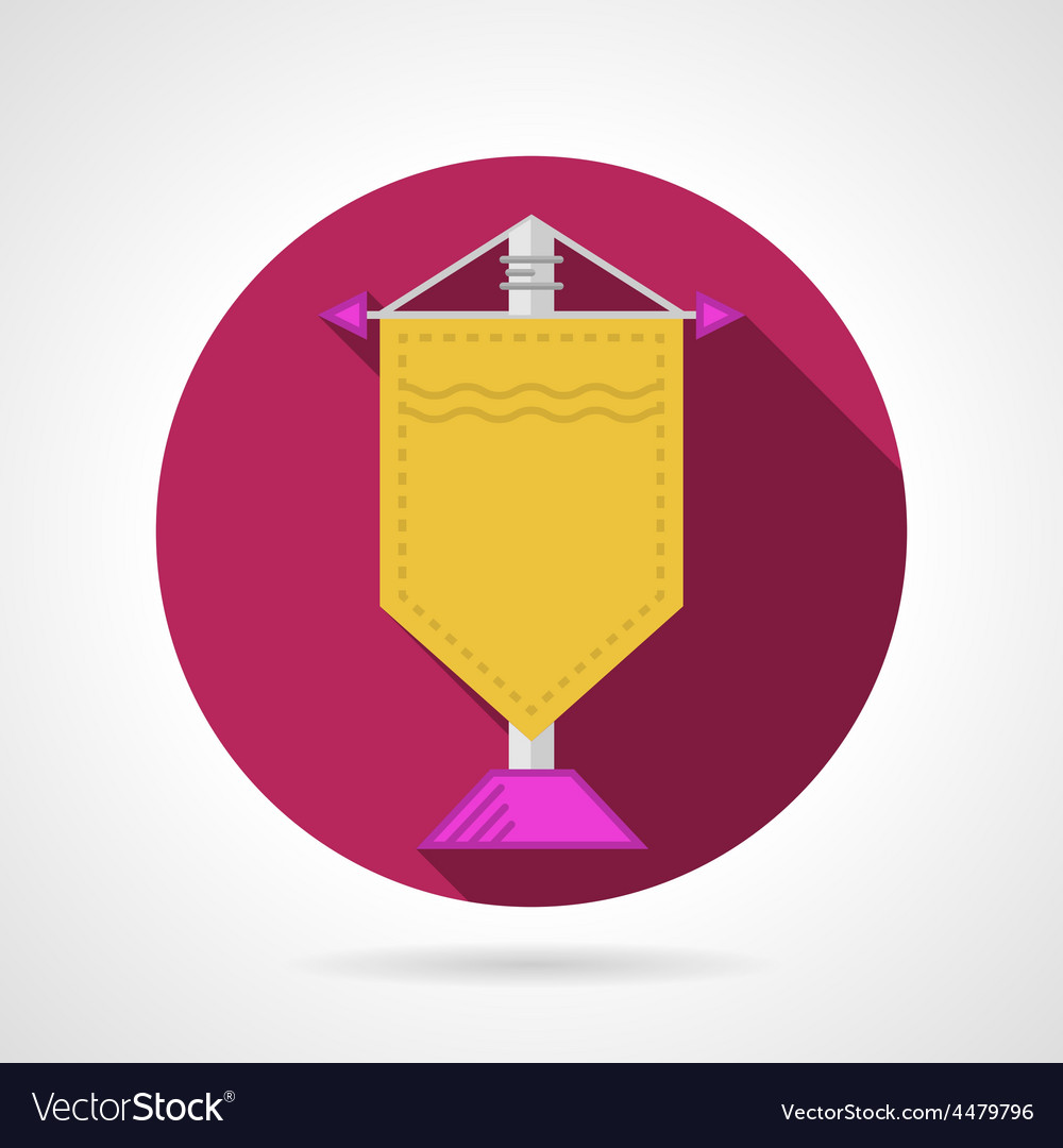 Pink flat icon for yellow pennant vector | Price: 1 Credit (USD $1)