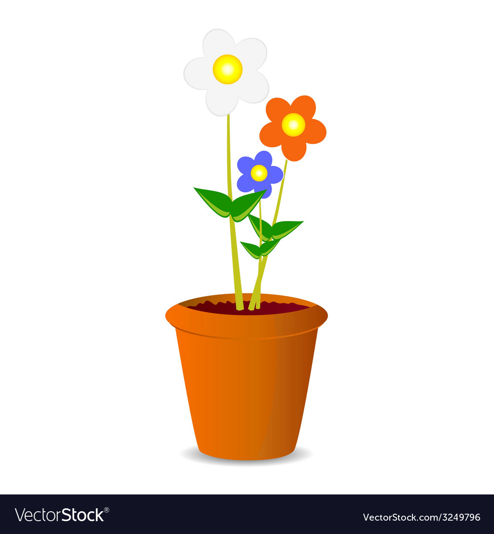 Pot flowers vector | Price: 1 Credit (USD $1)