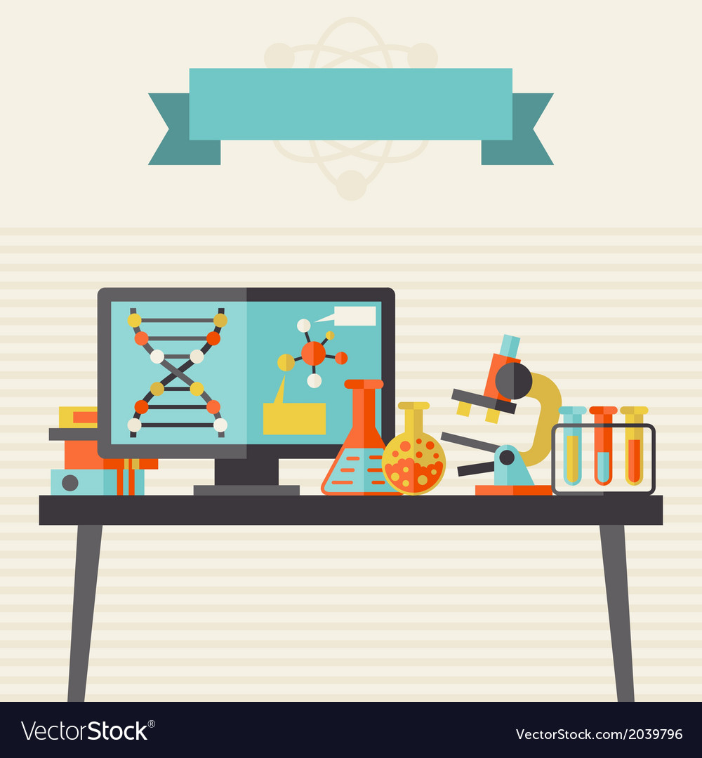 Science concept in flat design style vector | Price: 1 Credit (USD $1)