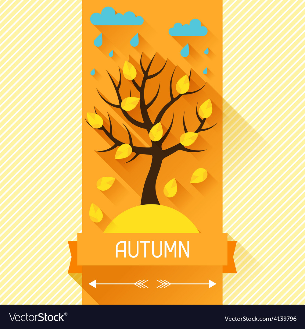 Seasonal with autumn tree in flat vector | Price: 1 Credit (USD $1)