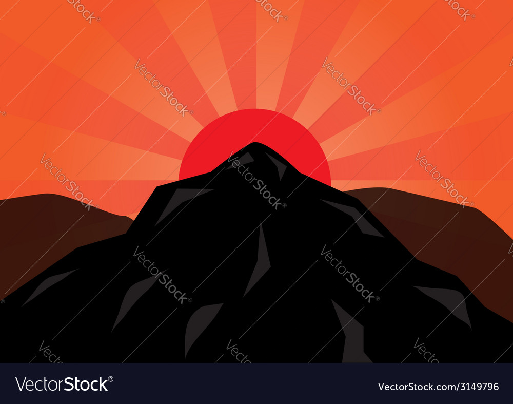 Silhouette mountain and red sun vector | Price: 1 Credit (USD $1)