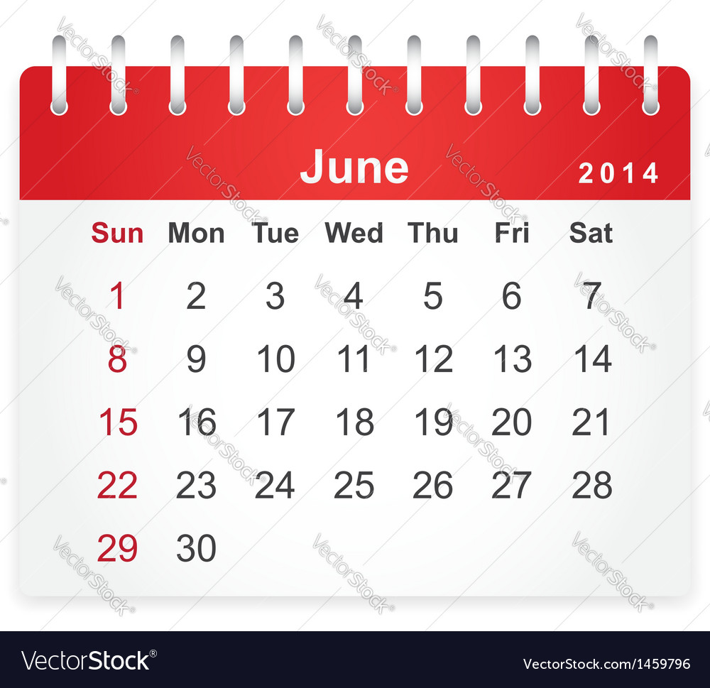 Stylish calendar page for june 2014 vector | Price: 1 Credit (USD $1)
