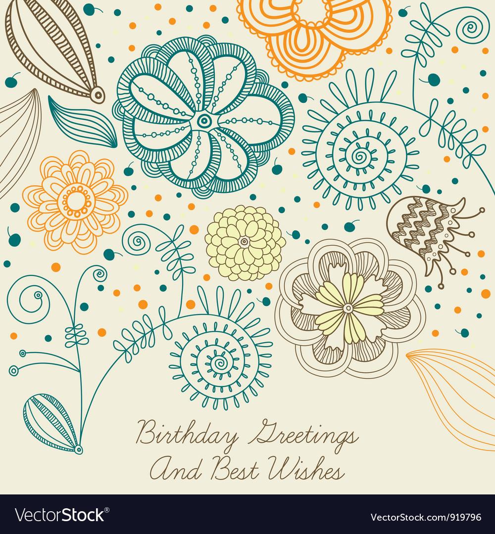 Vintage birthday floral card vector | Price: 1 Credit (USD $1)
