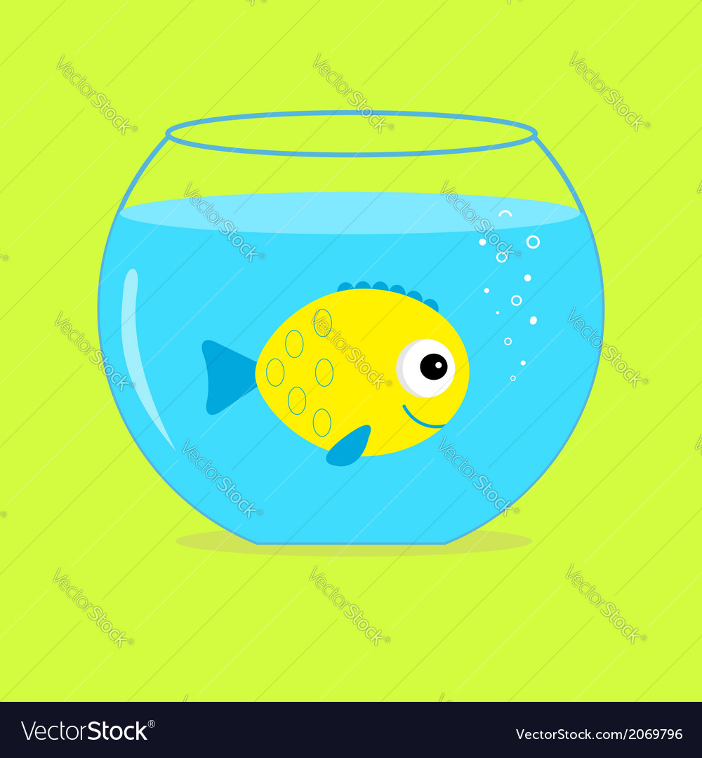 Yellow fish in the aquarium card vector | Price: 1 Credit (USD $1)