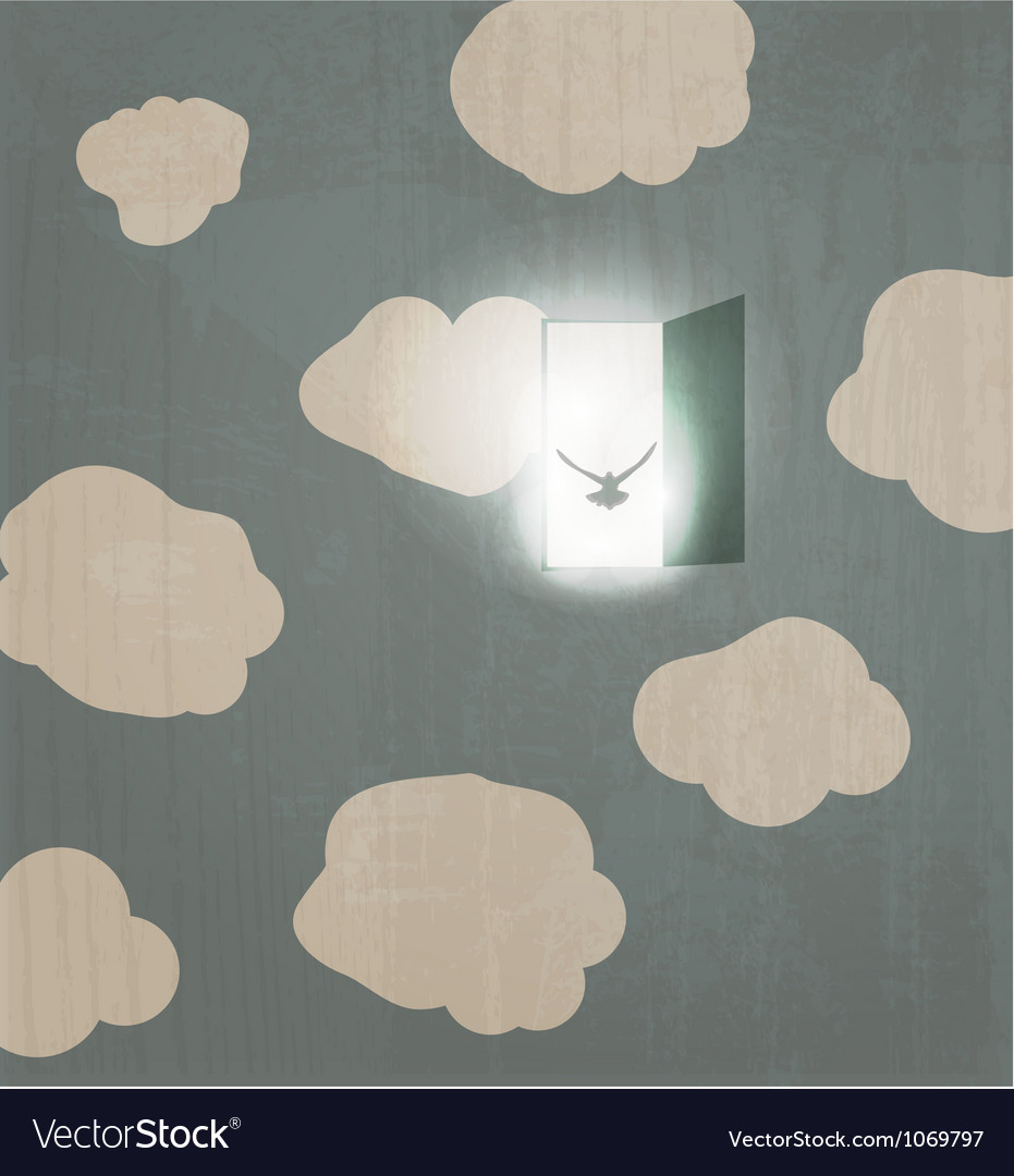 Abstract concept poster dove flies through the vector | Price: 1 Credit (USD $1)