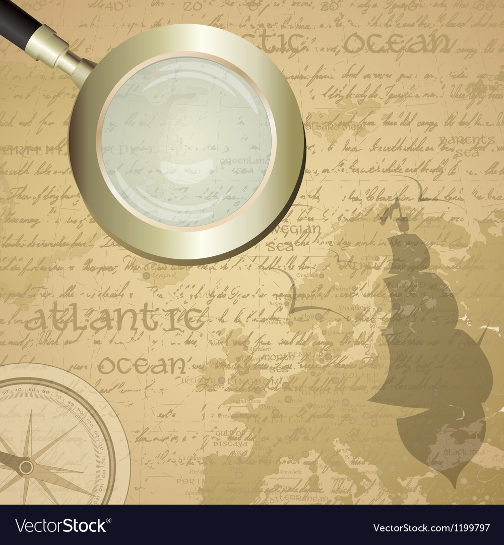 Antique sailor background with old grungy map and vector | Price: 1 Credit (USD $1)