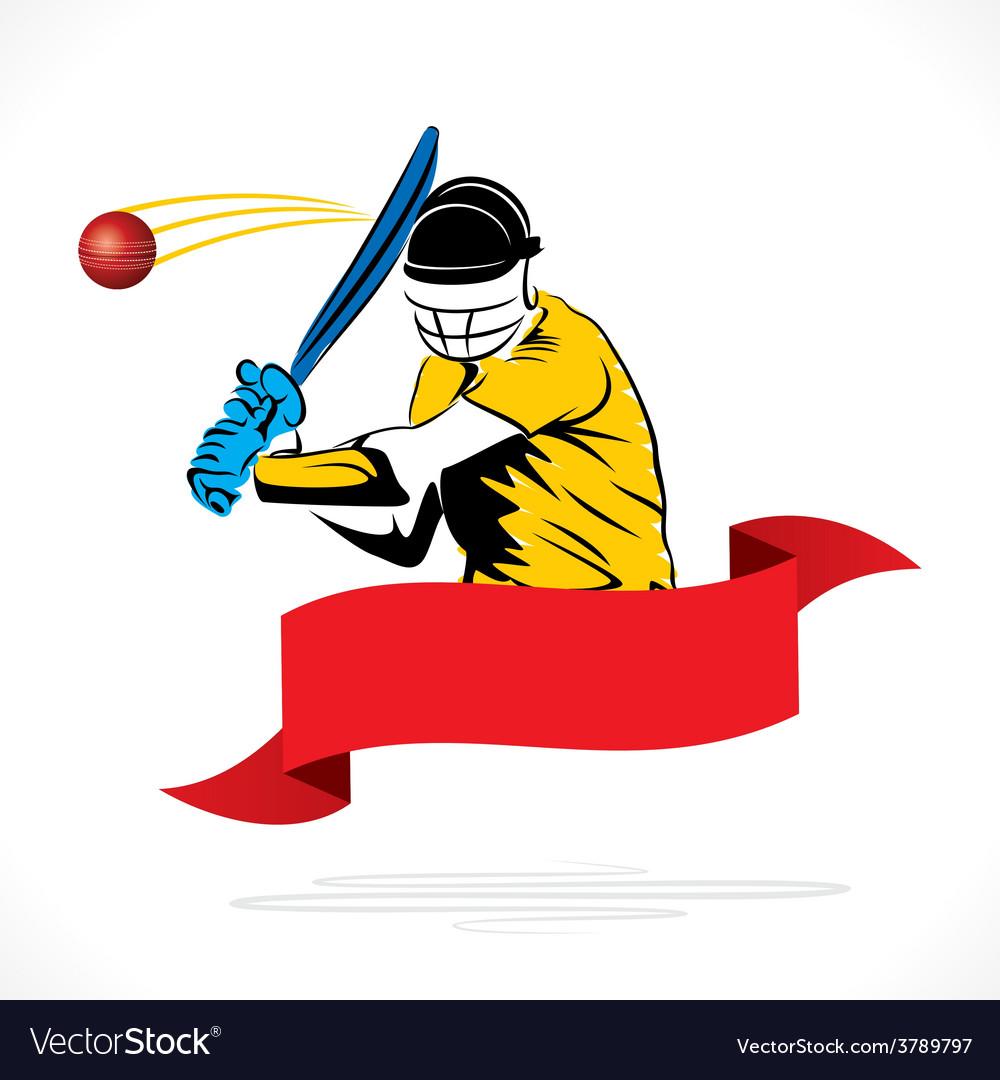 Batsmen hit the ball banner design vector | Price: 1 Credit (USD $1)