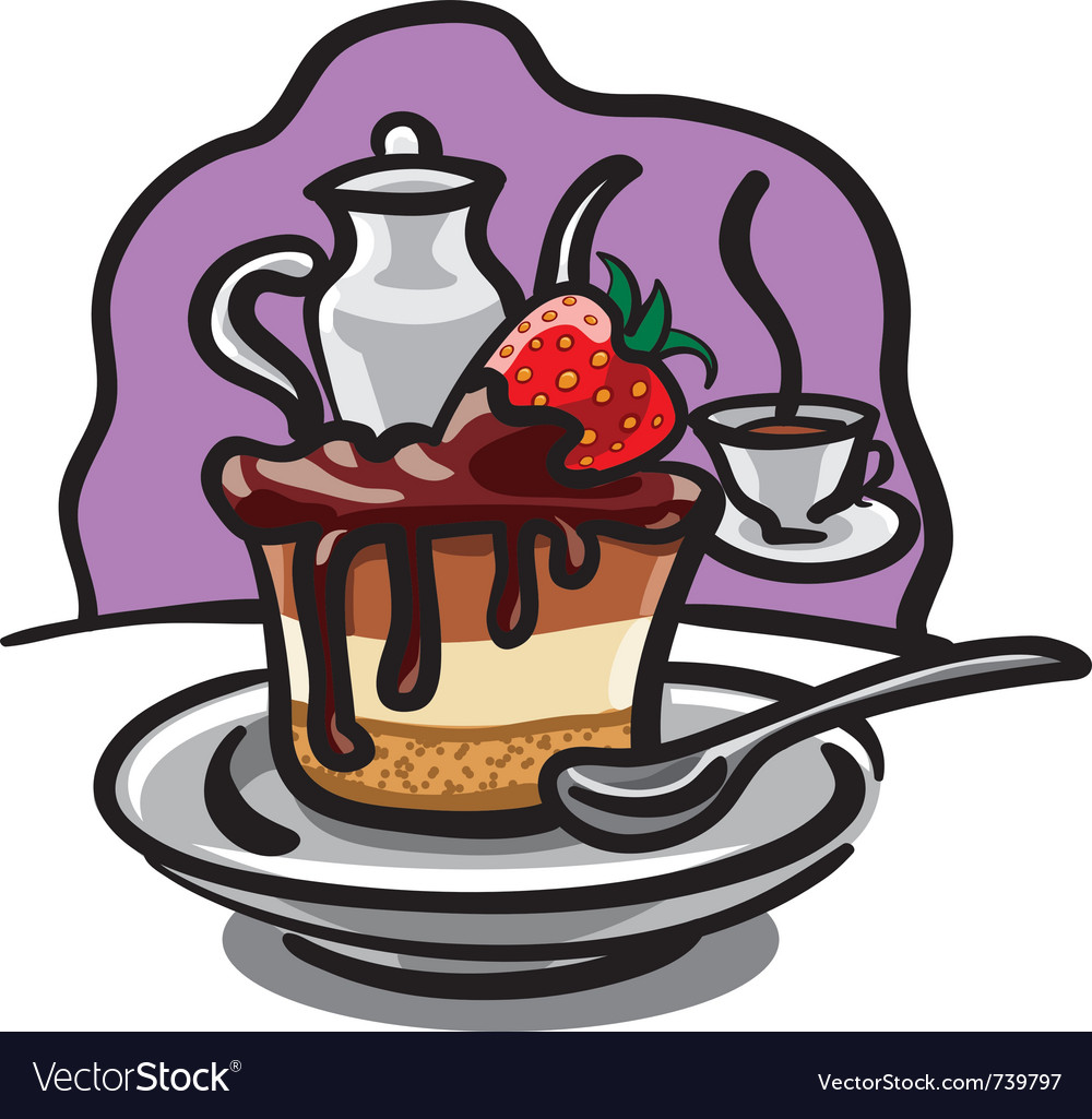 Chocolate cake with strawberry vector | Price: 3 Credit (USD $3)