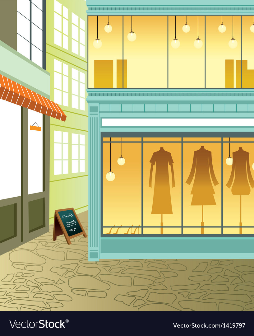 Fashion boutique streetview vector | Price: 1 Credit (USD $1)