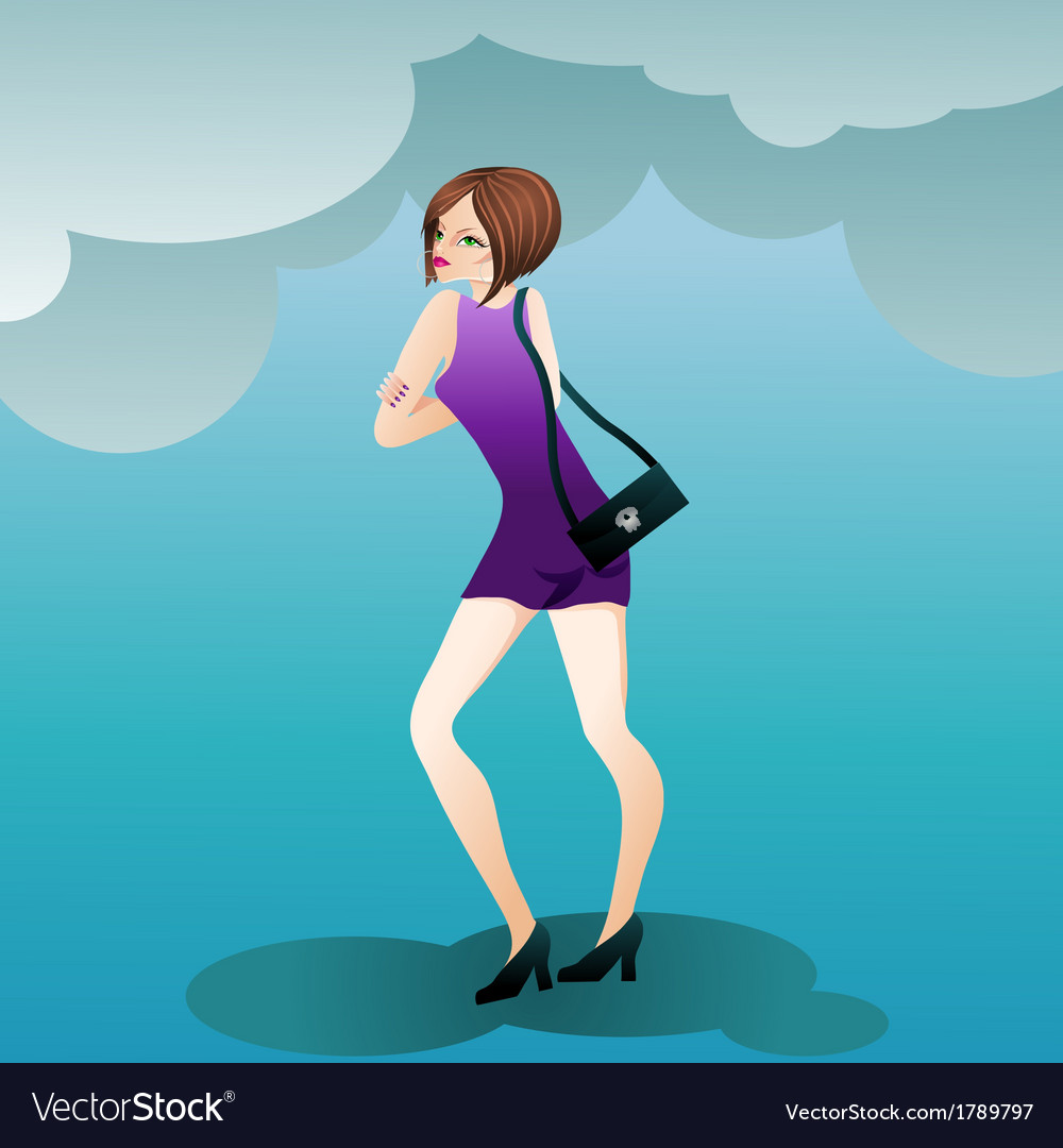 Fashion cute girl with a handbag vector | Price: 1 Credit (USD $1)