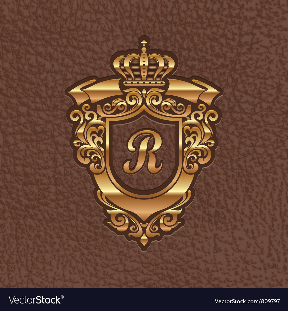 Golden royal coat of arms embossing on a leather vector | Price: 3 Credit (USD $3)