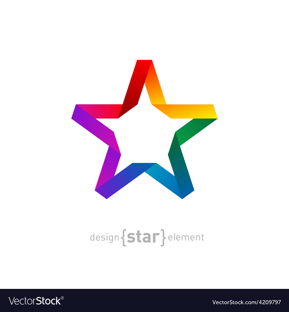 Origami rainbow star from paper on white vector | Price: 1 Credit (USD $1)