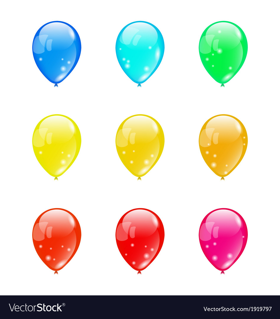 Set colorful balloons isolated on white background vector | Price: 1 Credit (USD $1)