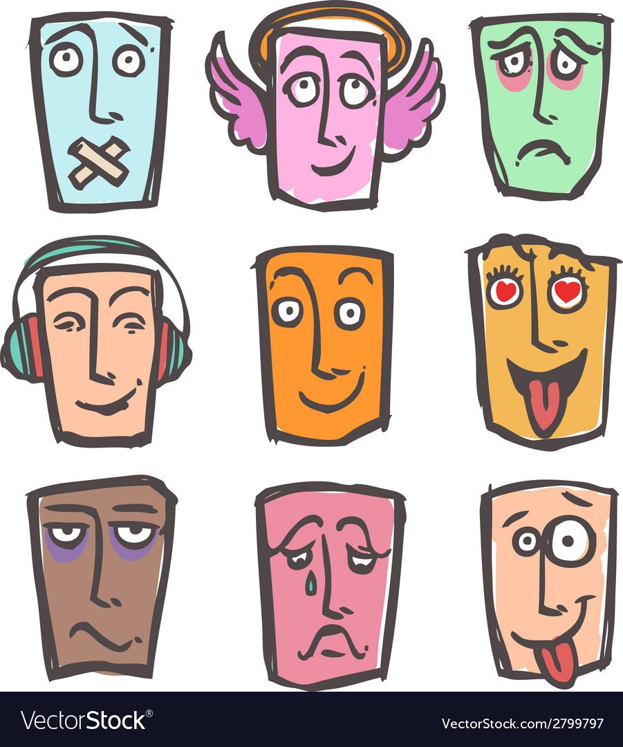 Sketch emoticons colored set vector | Price: 1 Credit (USD $1)